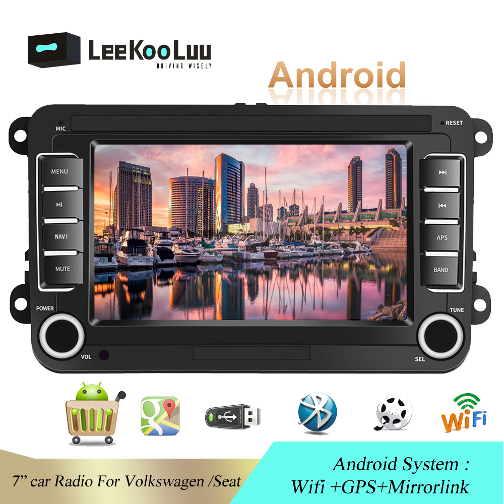 LeeKooLuu 2 Din Android Car Radio For Volkswagen Skoda <font><b>VW</b></font> Passat B6 Polo <font><b>Golf</b></font> Touran Jetta Caddy T5 Tiguan Bora Car Multimedia image