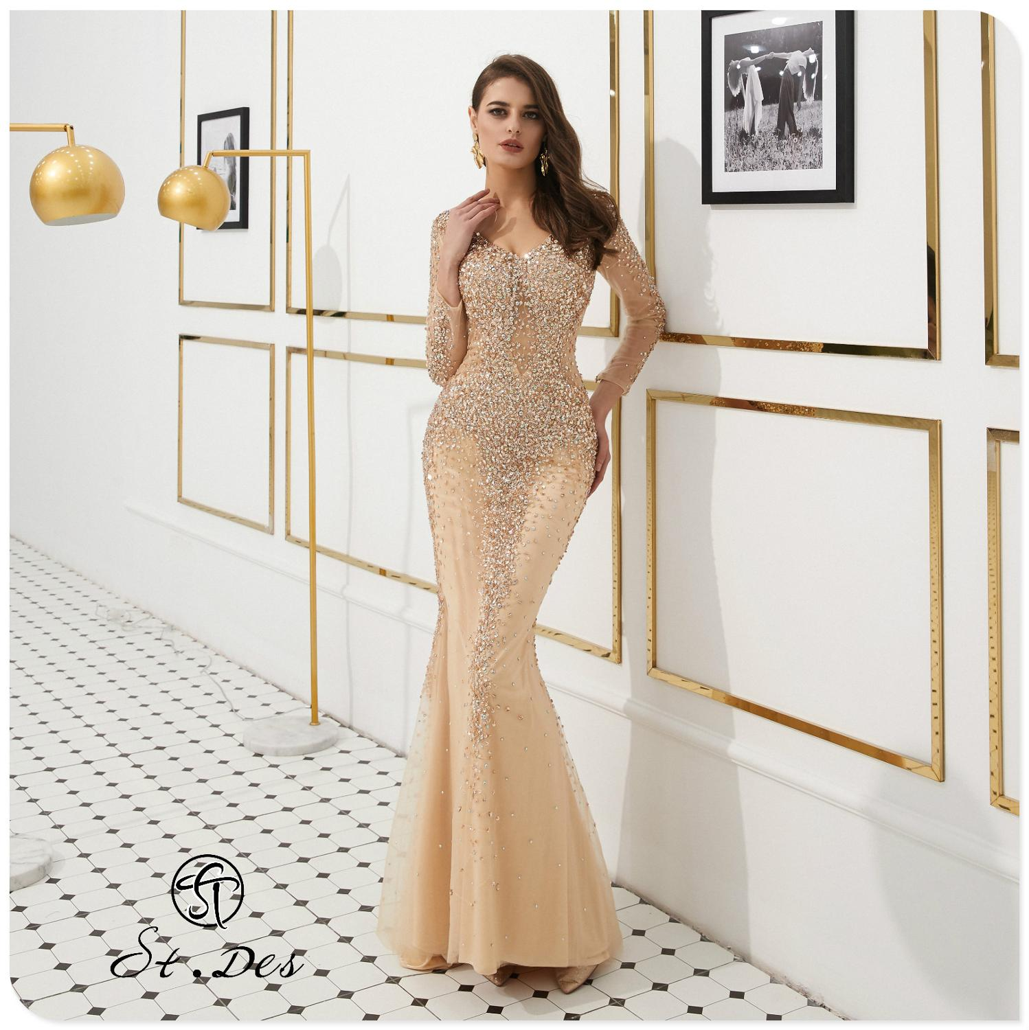 NEW 2020 St.Des Mermaid V-Neck Long Sleeve Russian Champagne Beading Mid-sleeve Designer Floor Length Evening Dress Party Dress