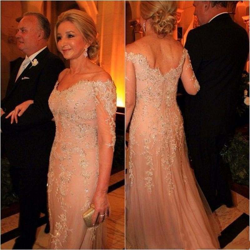 Plus Size Mother Of The Bride Dresses A-line V-neck 3/4 Sleeves Tulle Appliques Long Groom Mother Dresses For Wedding