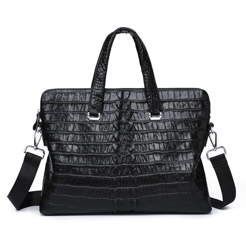 Vintage Crocodile Pattern Genuine Leather Men Laptop Briefcase Men Business Bag Cowhide Tote Bag Handbag Messenger Shoulder Bag