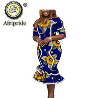 African Dresses for Women Print Outfits Short Sleeve O Neck Midi Dress Dashiki Clothing Clothes Ankara Wear AFRIPRIDE S1925074