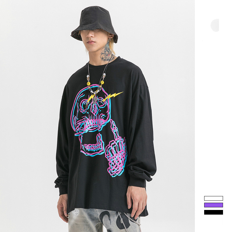 Men Women Long Sleeve Loose Skull Print Casual T Shirt Male Streetwear Hip Hop Tees Shirts Lovers Clothes Tshirt