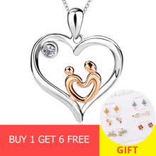 цена на XiaoJing  New fashion 925 Sterling silver CZ diy Mom and son hand in hand pendant necklace Jewelry for Mother gift free shipping