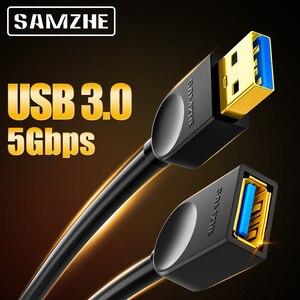 Image 1 - SAMZHE USB 3.0/2.0 تمديد كابل مسطح تمديد كابل AM/AF 0.5 متر/1 متر/1.5 متر/2 متر/3 متر لأجهزة الكمبيوتر TV PS4 الكمبيوتر المحمول موسع