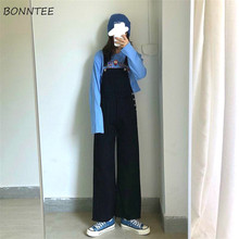 Jumpsuits Women Solid Black Spring New Overalls Womens Korean Full-length Sweet Girls Clothes Long P