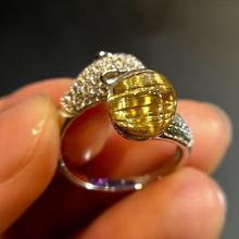 Top Natural Gold Rutilated Quartz Adjustable Ring 8.5mm Round Sphere Brazil 925 Silver Woman Man Anniversary AAAAA Rings Jewelry