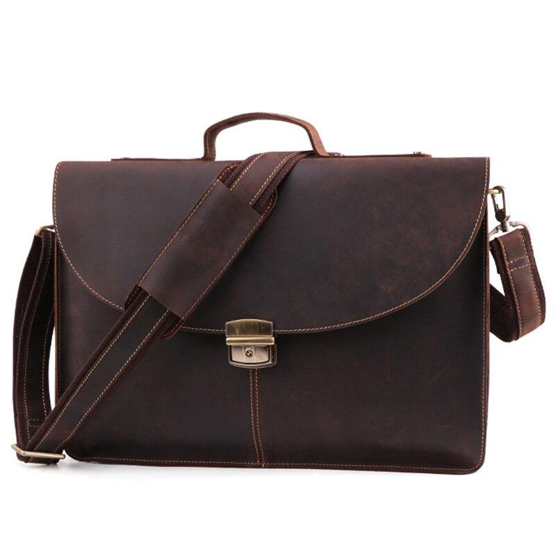 JOYIR New Anti-theft Lock Portable 15.6 Inches Computer Briefcase Men Vintage Messenger Bag Crazy Horse Leather Business Handbag