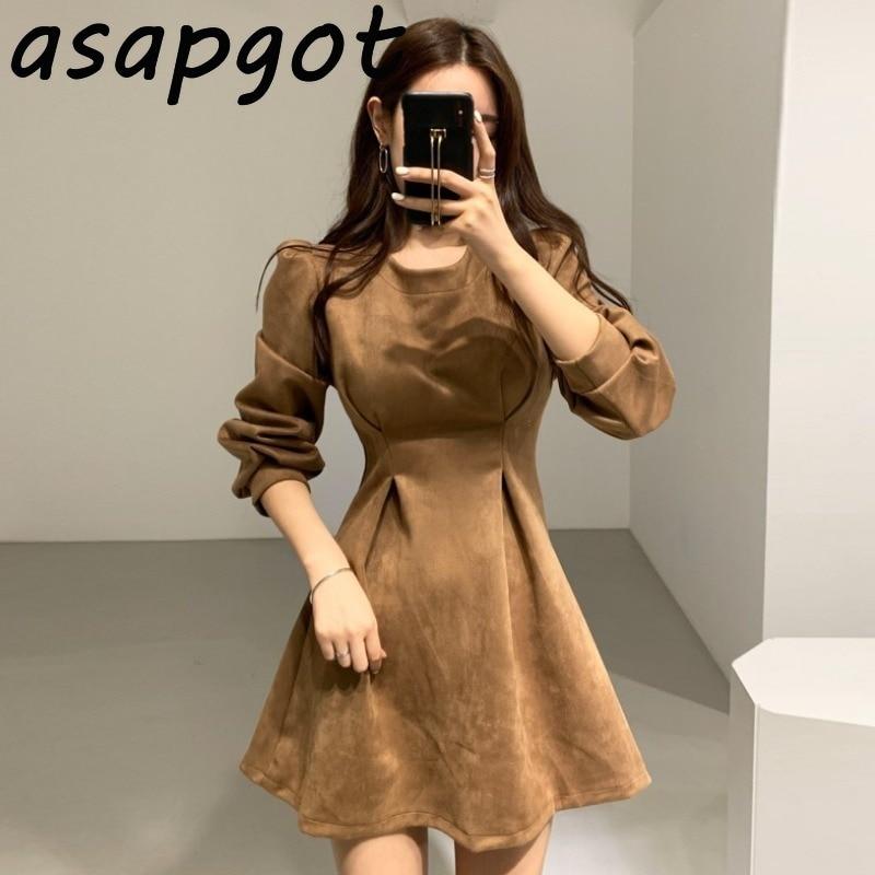 Женское мини платье с круглым вырезом Asapgot, корейский элегантный светильник в стиле ретро для зрелых женщин на осень и зиму|Платья|   | АлиЭкспресс