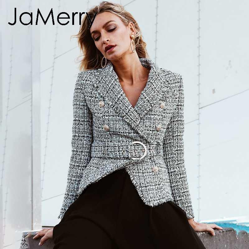 JaMerry w stylu Vintage plaid odzież robocza officy pani marynarka kobiety pokój łuszcz przycisk pas płaszcz z długim rękawem znosić marynarka płaszcz