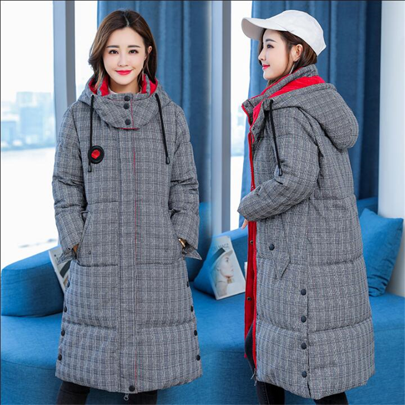 Winter Women Jacket 2019 New Down Cotton Jackets Female Long Sleeve Hooded Long Winter Coats Warm Thicken Parkas 5XL CQ2579