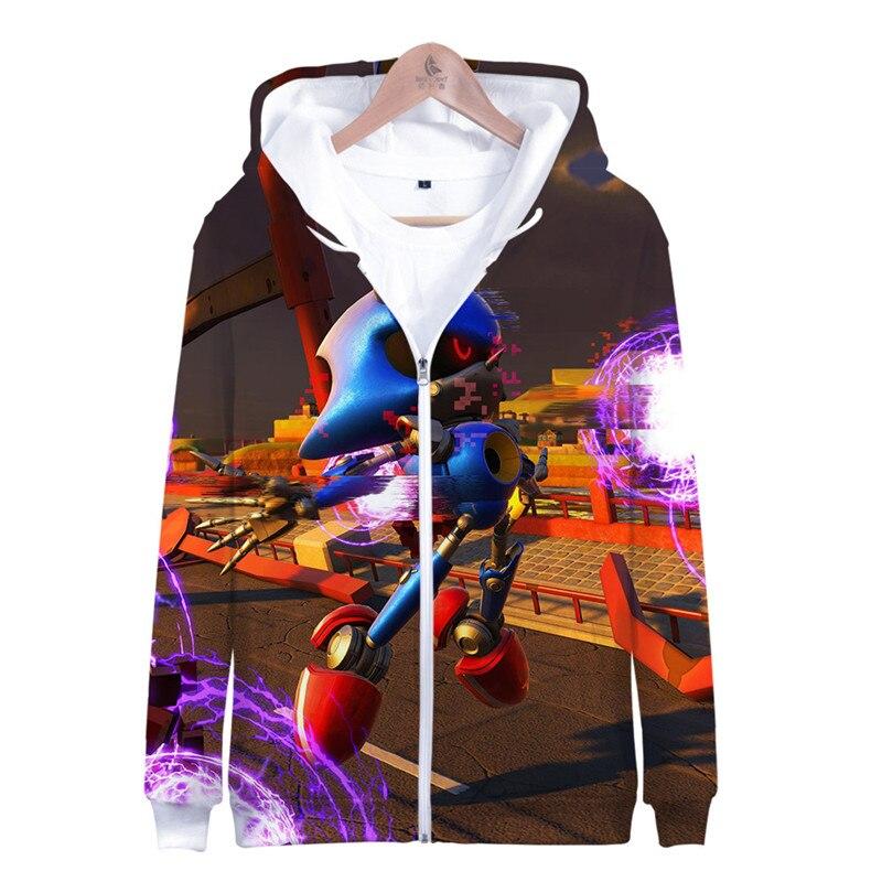 Sonic 3D New Fashion Zipper Hoodies Casual Long Sleeve Sweatshirt 3D Boy/girl Clothes 2019 Parent-child Thin Style Cartoon Coat