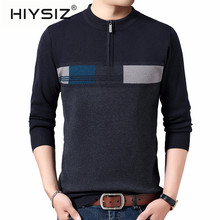HIYSIZ Brand 2019 Streetwear plaid knitted casual pull homme mensweater men pullover warm striped sweaters winter H3016