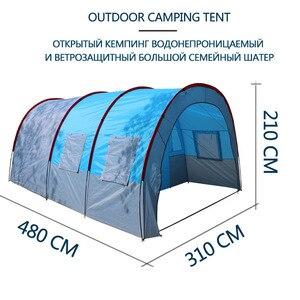 Image 3 - テントアウトドアキャンプ大キャンプテント防水キャンバスグラスファイバー 5 8 人家族トンネル 10 人のテント機器屋外