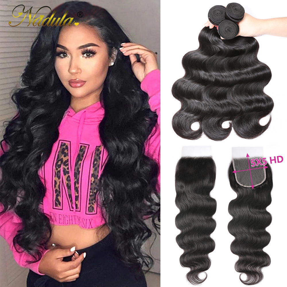 Nadula Hair 5x5 HD Lace Closure With Bundles  Body Wave Bundles With Closure  Transparent Frontal and Bundles 1