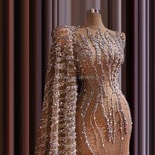Evening-Dress Beaded Robe-De-Soiree-Aibye Sequins Arab Mermaid Elegant Luxury Dubai Scoop
