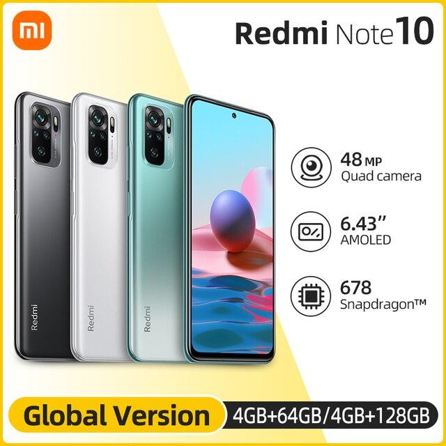 Global Version Xiaomi Redmi Note 10 Smartphone Snapdragon 678 5000 mAh AMOLED Display 48MP Quad Camera 33W Fast Charging 1