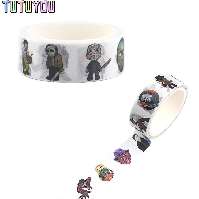 PC360  Chucky Face Movie Penny Wise Jason Hockey Freddy Krueger Scream Horror Washi Tape Sticker