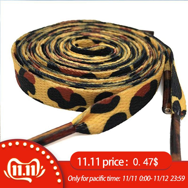 1 Pair Newest Classic Leopard Print Shoelaces Fashion Flat Laces Applicable To All Kinds Of Shoes Leopard Print Shoestrings