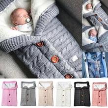 Детские спальные мешки, зимние детские вязанные пеленки на пуговицах для новорожденных, детский Пеленальный халат для коляски, одеяло для малышей