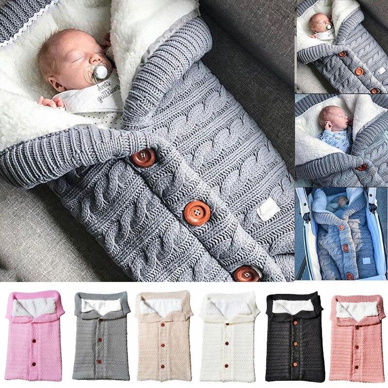 Bébé sacs de couchage hiver infantile bouton tricot emmailloter nouveau-né emmailloter bébé poussette envelopper enfant en bas âge couverture
