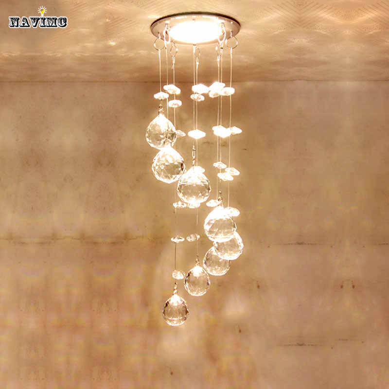 Modern Crystal Lighting Fixture Spiral  Lamp  lustre Light fitting LED  for Aisle Hallway Porch Staircase