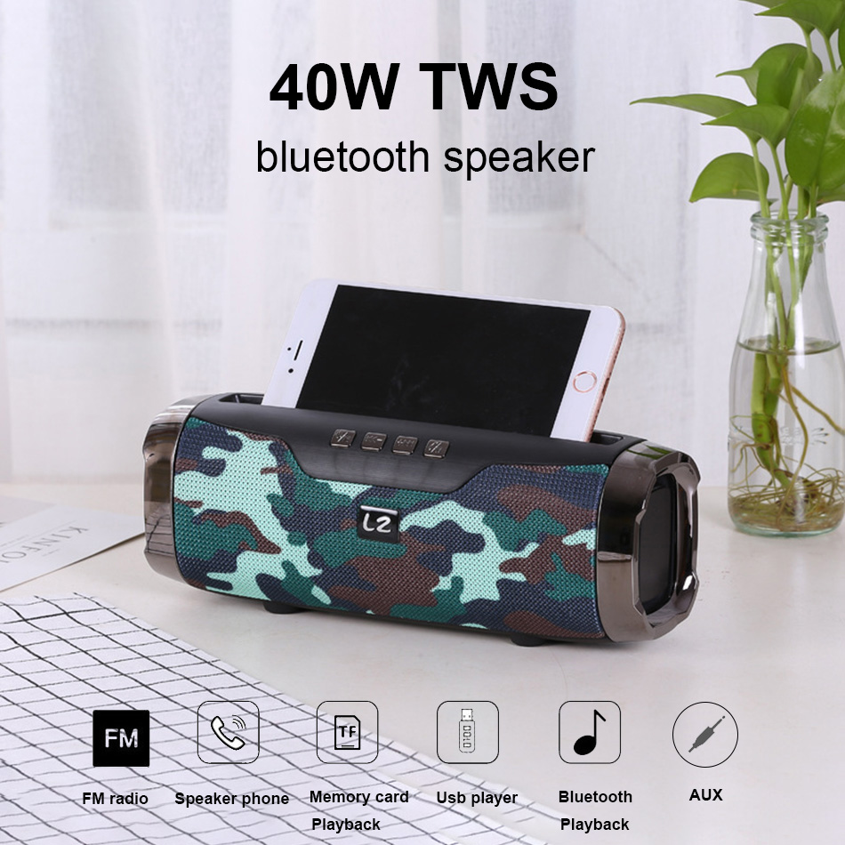 High Power 40W speaker Wireless Bluetooth Speaker Portable Outdoor som Boom box music senter With Phone Holder column 1