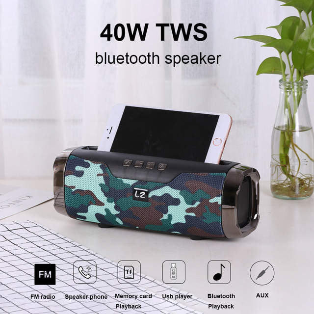 High Power 40W speaker Wireless Bluetooth Speaker Portable Outdoor som Boom box music senter With Phone Holder column 1