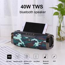 Alta potência 40w alto-falante sem fio bluetooth e22 f666 portátil poderoso ao ar livre som boom box leitor de música com suporte do telefone coluna