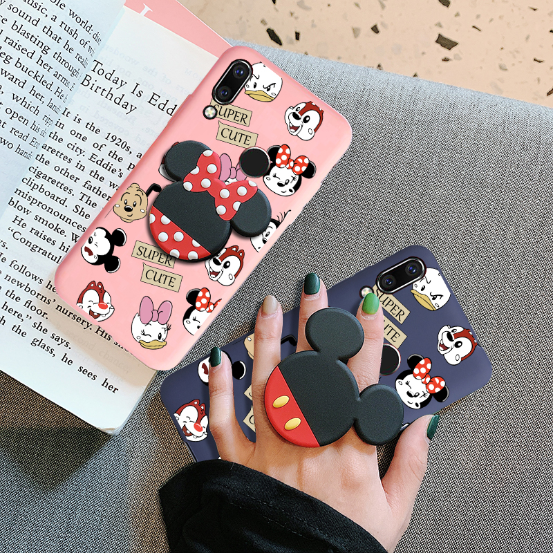 3D Cute Holder Ring Case For Huawei Honor 10 9 8 20 I Lite 8C 8X 8A 8S P Smart 2019 Z P40 P30 P20 Lite Strap Rope Cover