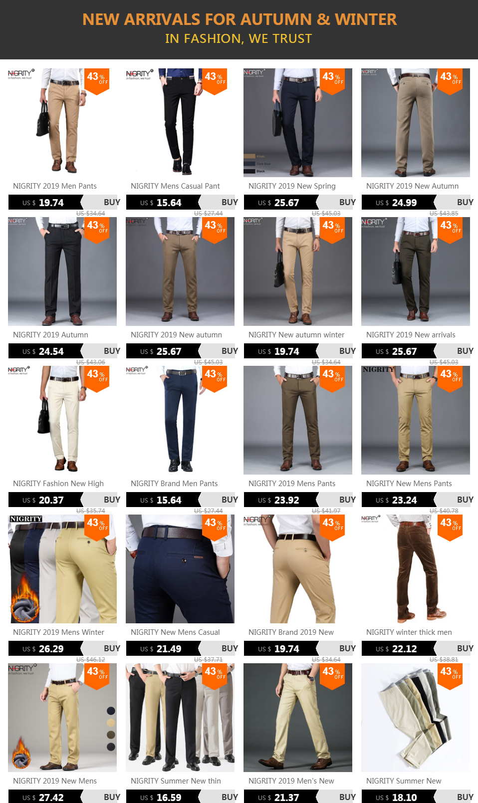 H2649a2c36a0e4e488ce2789e9b706dc7W NIGRITY 2019 Men Pants Casual High Quality Classics Fashion Male Trousers Business Formal Full Length Mens Pants