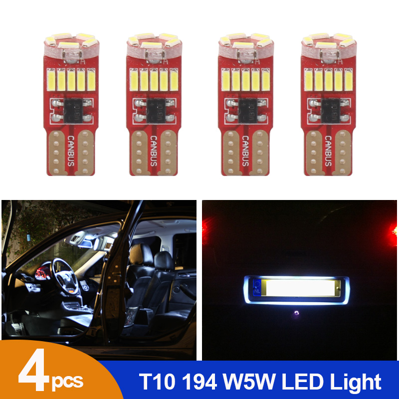4pcs White Canbus Car Interior Light T10 W5W Led Wedge Bulb 4014 15SMD Auto Map Dome Reading Lights Sidemarker Sidelight Lamp