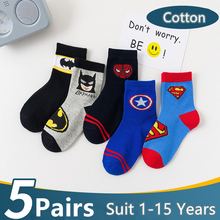 5 Pairs/Lot Cotton Kids Socks Breathable Cartoon Spiderman Superman Fashion