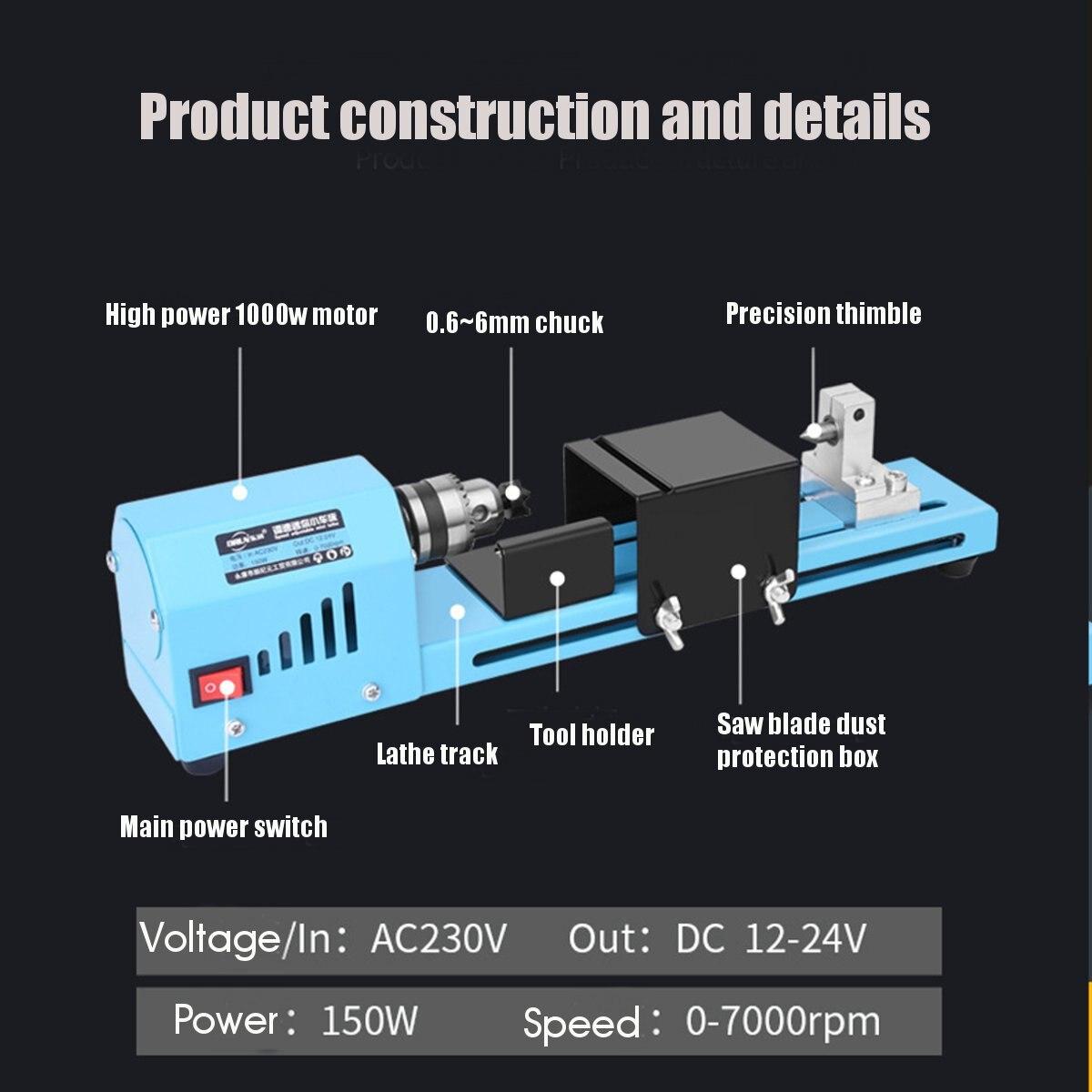 150W Mini Drehmaschine Werkzeug DIY Holzbearbeitung Holz drehmaschine Fräsen maschine Schleifen Polieren Perlen Bohrer Dreh Werkzeug