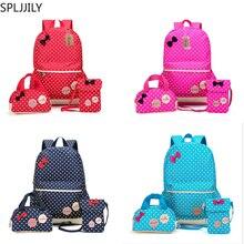 SPLJJILY Set of 3 Cute Dot Lightweight College School Backpacks for Kids Girls Teen
