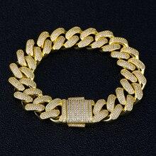 DNSCHIC 18mm küba bilezik altın buzlu Out küba zincir bağlantı erkek CZ buzlu bilezik erkekler kadınlar için Hip Hop takı bilezik 8/9 inç