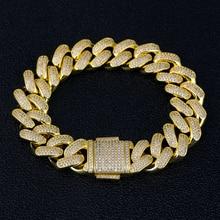 DNSCHIC Bracelet cubain en or, 18mm, glacé, maillons de chaîne cubaine pour hommes et femmes, bijoux Hip Hop, 8/9 pouces