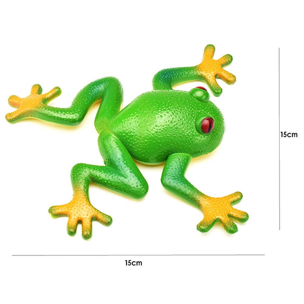 Kids Novelty Funny Toy squishy Frog Toy Simulation Soft Stretchable Rubber Frog Model Spoof Vent Toys for Children Adults Jokes image