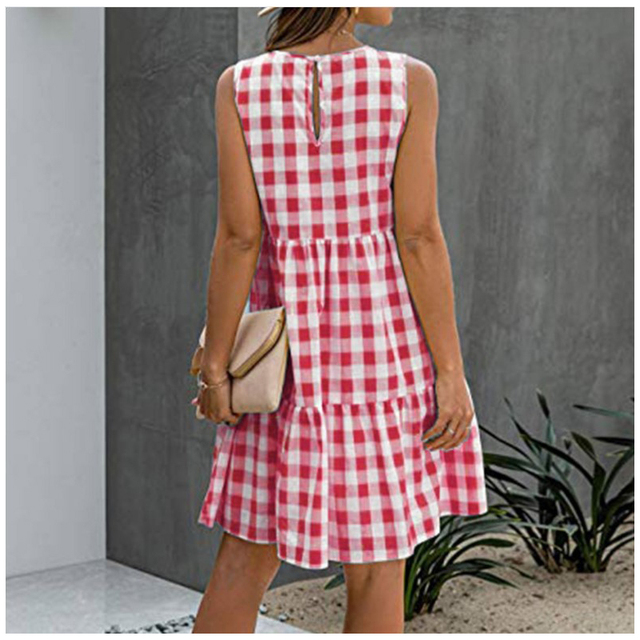 American Style Women Summer New Fashion Sleeveless Classical Simple Basic Vintage Plaid Patchwork Round Neck Casual Sweet Dress 4