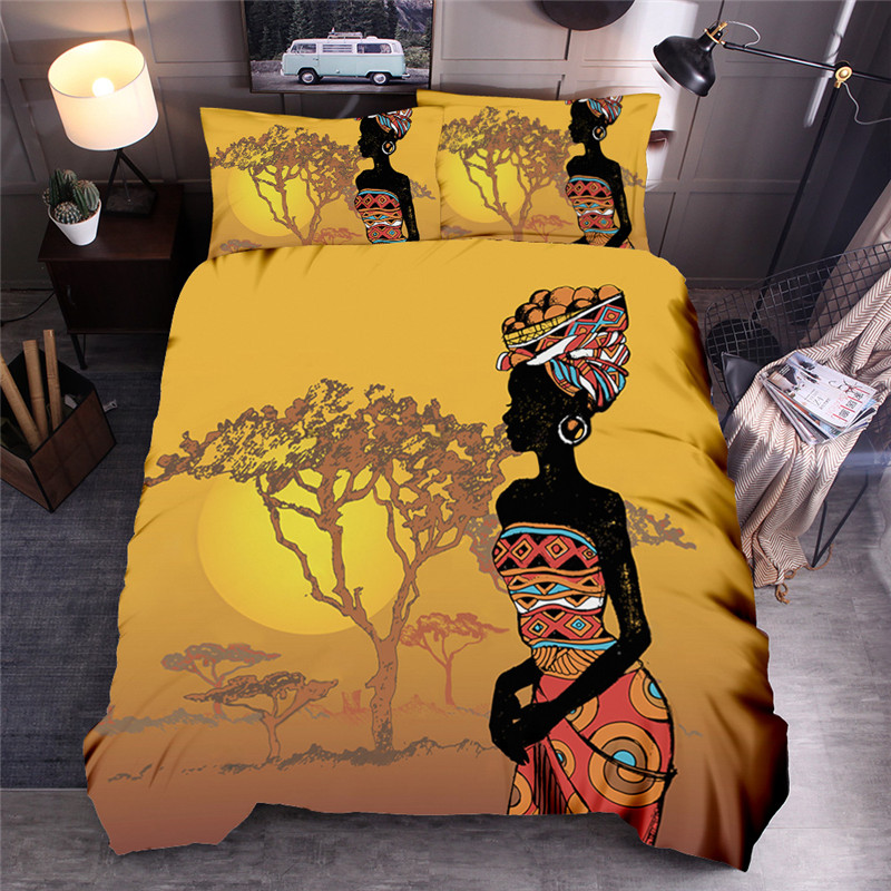 Africa Women Printed Bedding Sets Ethnic African Duvet Cover Set Queen King Quilt Cover Bed Linen