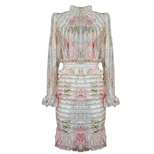 Image 4 - TWOTWINSTYLE 패치 워크 프릴 인쇄 Ruched 여자의 드레스 스탠드 칼라 퍼프 슬리브 높은 허리 드레스 여성 패션 의류