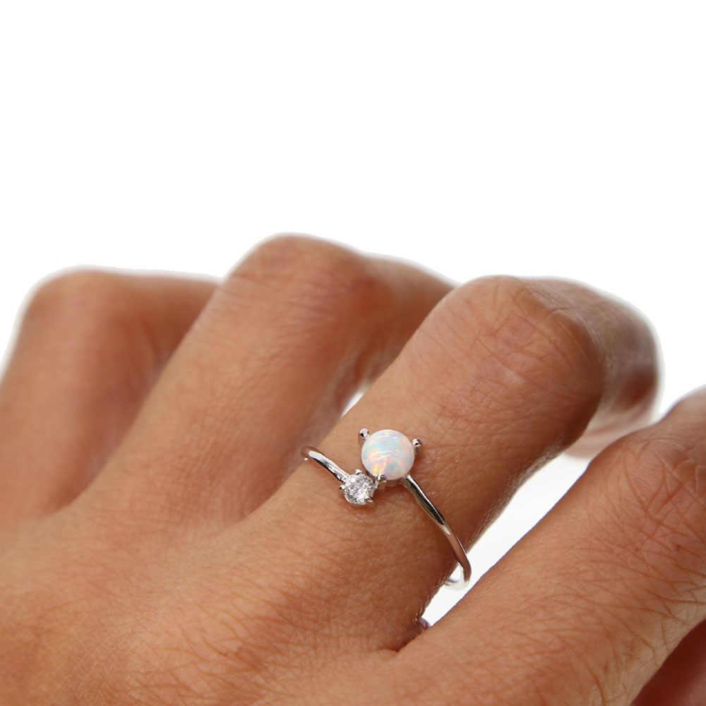 Délicate blue fire opal Zircon Women Jewelry Gems silver ring Taille 7-10 OJ4353