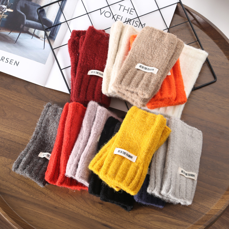 2021 Winter Warm Without Fingers Mittens Knitted Fingerless Gloves Thickening Wool Gloves Elegant Solid Color Glove Free