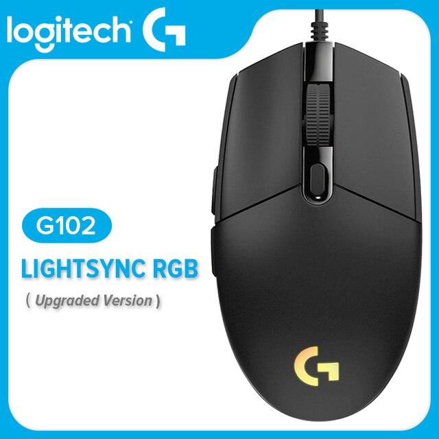מקורי Logitech G102 LIGHTSYNC/PRODIGY G203 משחקי עכבר אופטי 8000DPI 16.8M צבע התאמה אישית 6 לחצנים Wired לבן שחור