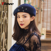 2018 Fashion Cap sexy net yarn wool hats trend water drilling beret autumn and winter new woolen hat?
