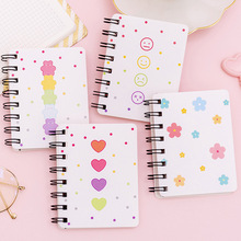 4 Pieces/lot Mini portable Coil notebook Loose-leaf Notepad smile expression print memo pad