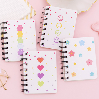 4 Pieces/lot Mini portable Coil notebook Loose-leaf Notepad smile expression print memo pad футболка print bar coil