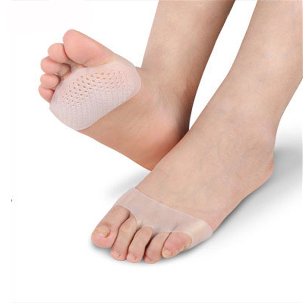 1 Pair Soft Silicone Gel Insoles Forefoot Pad High Heel Shock Absorption Anti Slippery Feet Pain Pain Relief Toes Pads