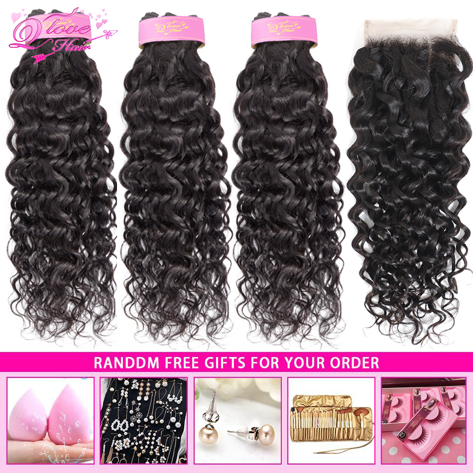 Queen Love Hair Water Wave Hair Bundles With Closure 100% Remy Human Hair Mongolian With Closure Brazilian Hair Weave Bundles