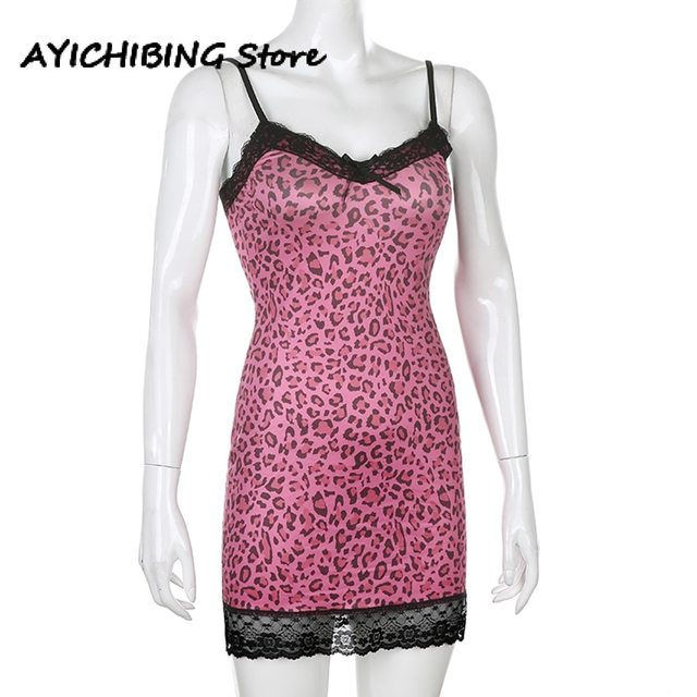 Animal Leopard Printing Mini Dress Bodycon High Waist Summer Patchwork Lace Sexy  Dress Female Y2k Sleeveless Summer Dress Women 4