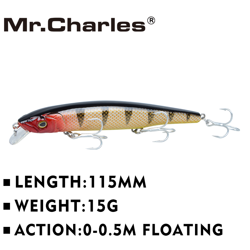 Mr.Charles CMC033 Fishing Lures 115mm/15g 0-0.5m Floating Super Sinking Minnow Hard Baits Crankbait Leurre Wobbler